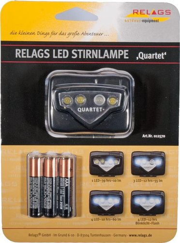LED Stirnlampe Quartet mit Batterien